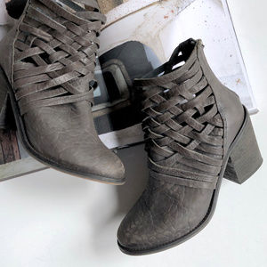 Free People Carrera Distressed Woven Booties
